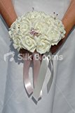 Gorgeous Ivory Rose Bridesmaid Bouquet with Crystal Butterfly