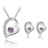 Beydodo Gold Plated Earrings Necklace Set For Women(Jewelry Set)Lovely Heart Shape Purple SWA Elements