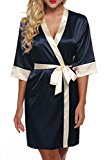 Ekouaer Wedding Short Robe for bride and Bridesmaids Classic Satin Sleepwear ...