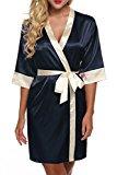 Ekouaer Wedding Short Robe for bride and Bridesmaids Classic Satin Sleepwear ...