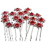 Contever® Elegant 1 Set of 20pcs Wedding Bridal Party Artifical Diamante Rhinestone and Prom Flower Hair Pins Clips Grips Pins Hairpins Bridesmaid Clips - Red
