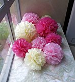 Tissue Paper Pom Poms 9 Pack Wedding, Christmas & Party Decorations - Vintage Lace