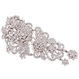 EVER FAITH® Austrian Crystal Art Deco Flower Bride Hair Comb Clear A06961-1