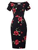 Floral Vintage Dress Short Sleeve V Neck Off Shoulder Black Size 18 BP0117-1