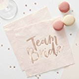 Ginger Ray Pink & Rose Gold Hen Party Team Bride Paper Napkins x 16 - Team Bride
