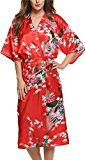 Avidlove Women's Robes Peacock and Blossoms Kimono Silk Nightwear Long Style