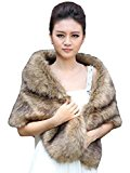 Aukmla Women's Wedding Fur Wraps and Shawls for Women and Girls (Brown)
