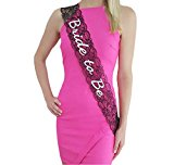 Deceny CB Bachelorette Sash Lace Bride to Be Sash for Bridal Shower Accessories (Black)