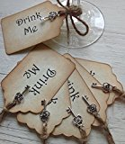 Alice in Wonderland Drink Me Silver Key Vintage Shabby Chic Style Tag