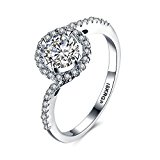 Skyllc® Platinum Plated Sterling Silver and Cubic Zirconia Bridal Wedding Ring