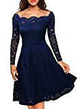 MIUSOL Women's Vintage Floral Lace Long Sleeve Boat Neck Cocktail Formal Swing Blue Dress Large/UK 12