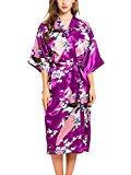 ADORNEVE Women's Satin Kimono Bridesmaid Silky Robes
